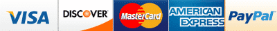 We accept all major credit and debit cards including Visa, Mastercard, Discover, American Express, and PayPal.
